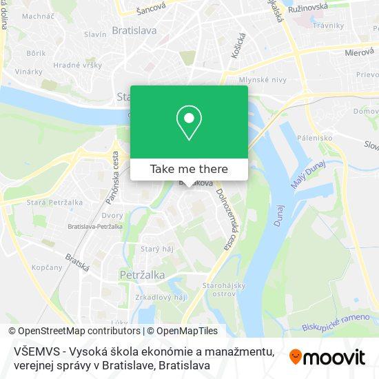 VŠEMVS - Vysoká škola ekonómie a manažmentu, verejnej správy v Bratislave map