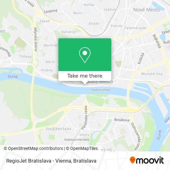 RegioJet Bratislava - Vienna map