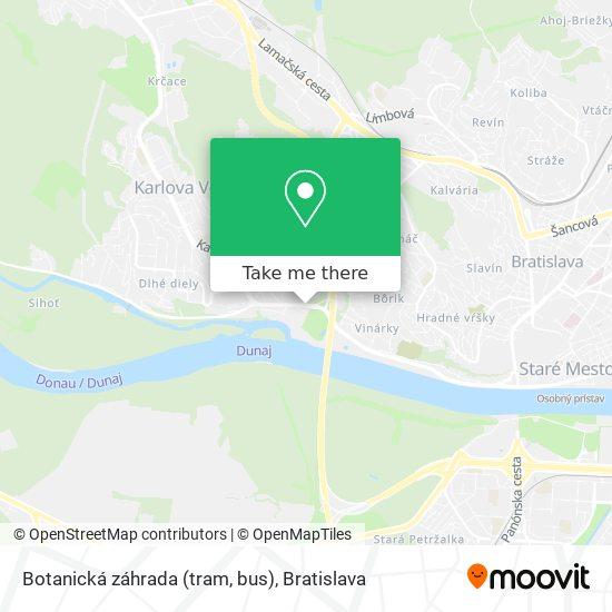Botanická záhrada (tram, bus) map