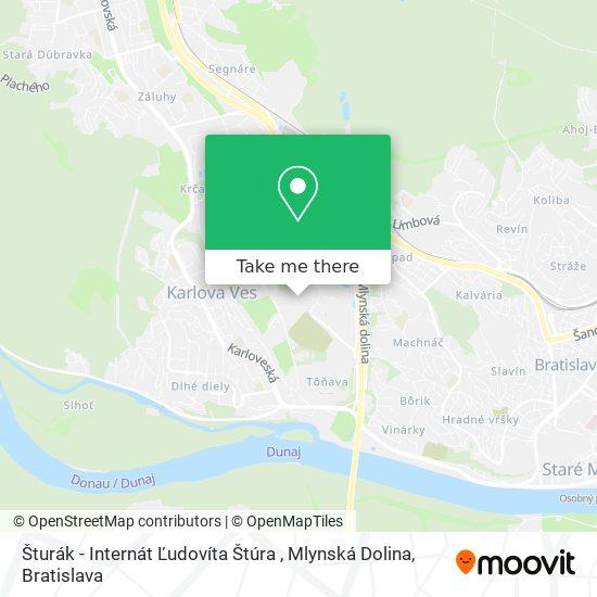 Šturák - Internát Ľudovíta Štúra , Mlynská Dolina map