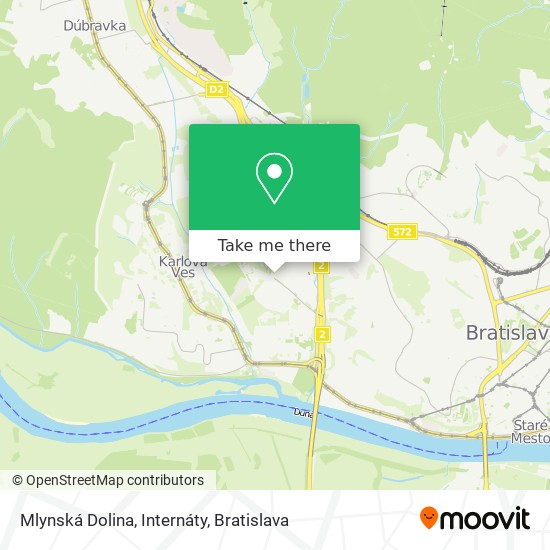 Mlynská Dolina, Internáty map
