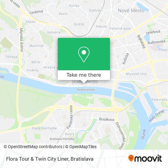 Flora Tour & Twin City Liner map