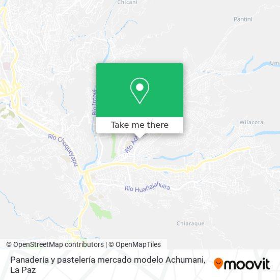 Panadería y pastelería mercado modelo Achumani map