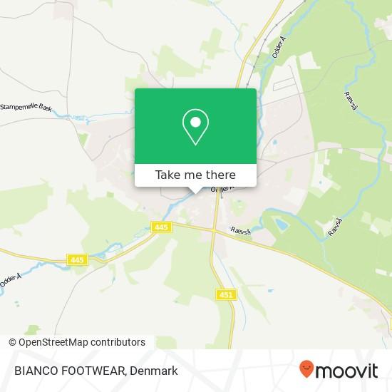 BIANCO FOOTWEAR, Rosensgade 38 8300 Odder Karte