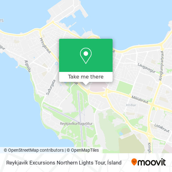 Reykjavik Excursions Northern Lights Tour map