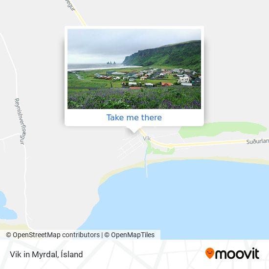 Vik in Myrdal map
