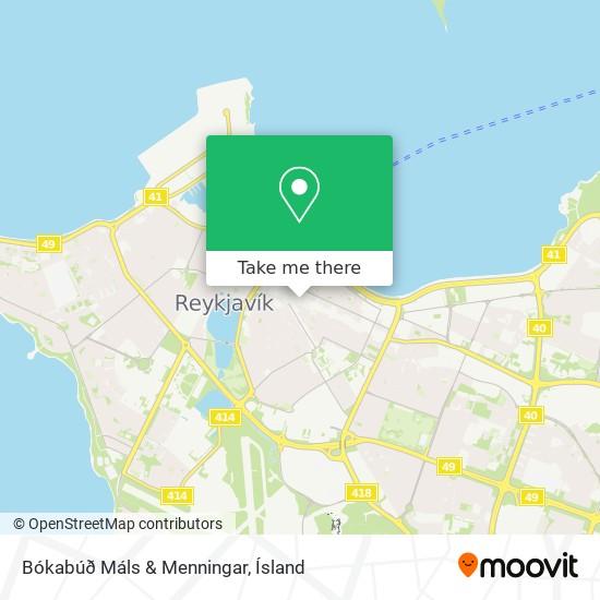 Bókabúð Máls & Menningar map