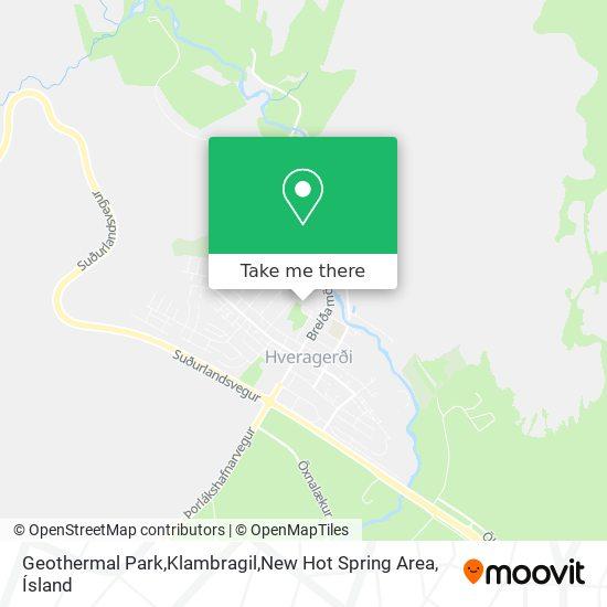 Geothermal Park,Klambragil,New Hot Spring Area map