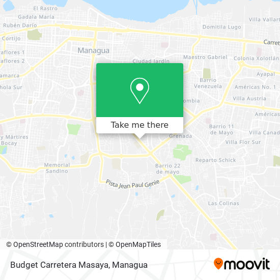 Budget Carretera Masaya map