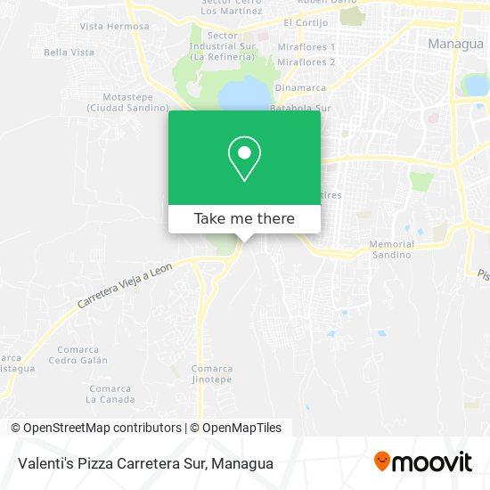 Valenti's Pizza Carretera Sur map