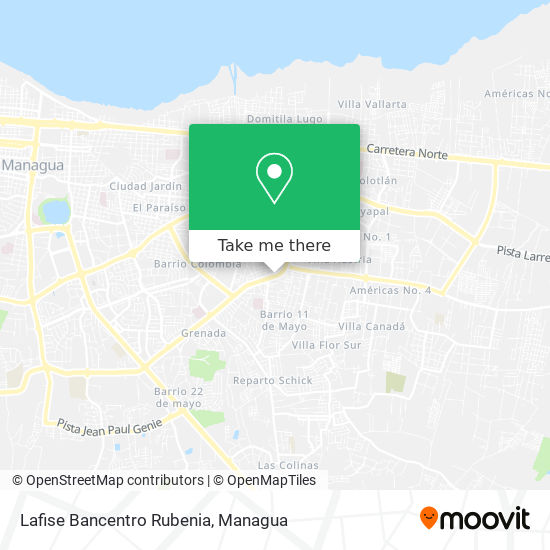 Lafise Bancentro Rubenia map