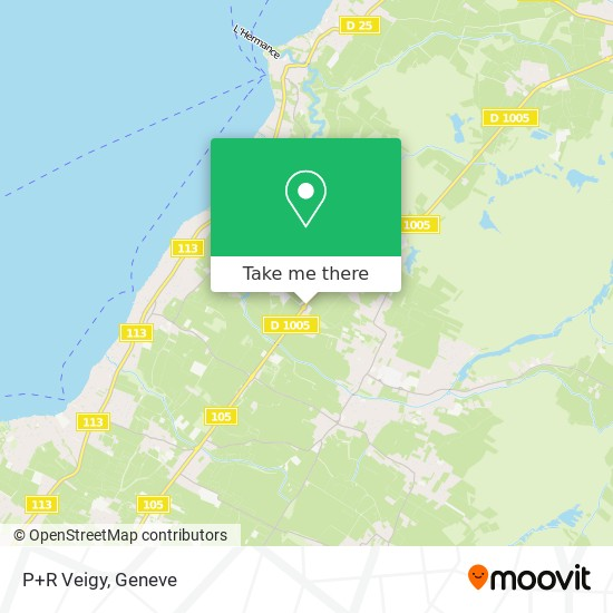 P+R Veigy map