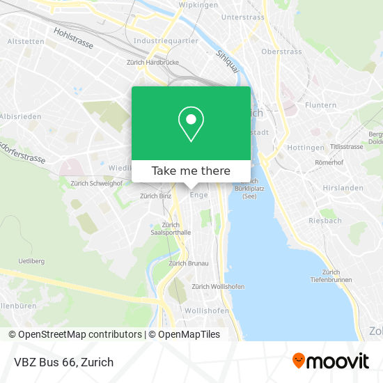 VBZ Bus 66 map