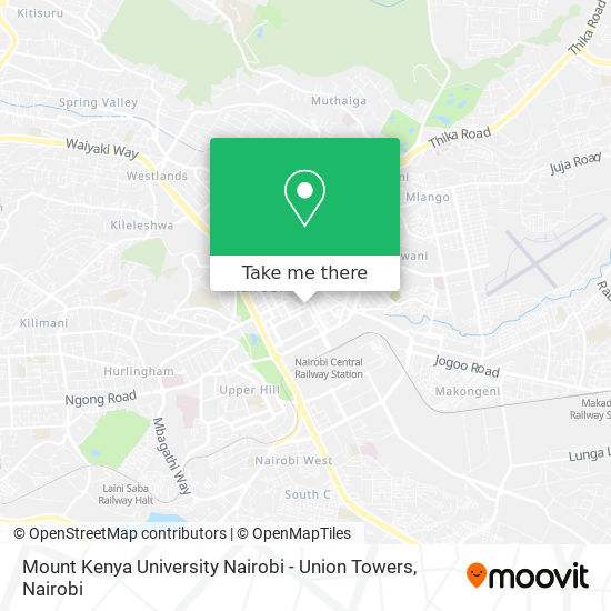 Mount Kenya University Nairobi - Union Towers map