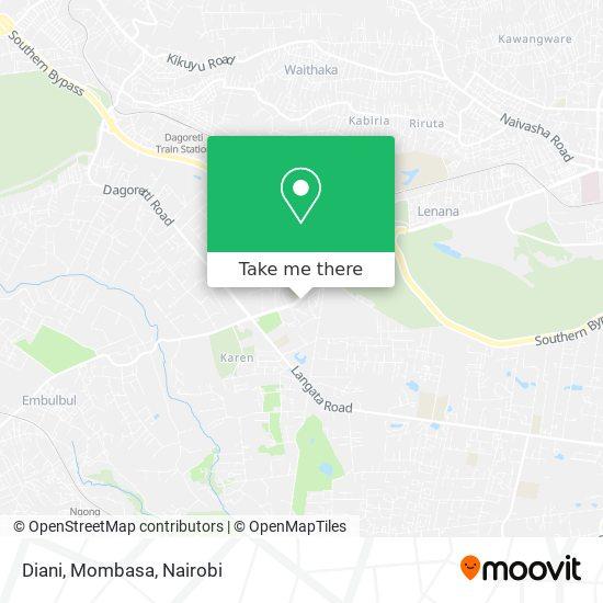 Diani, Mombasa map