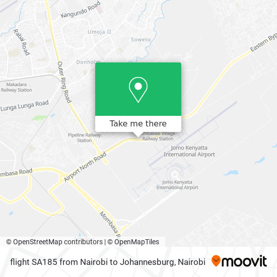 flight SA185 from Nairobi to Johannesburg map