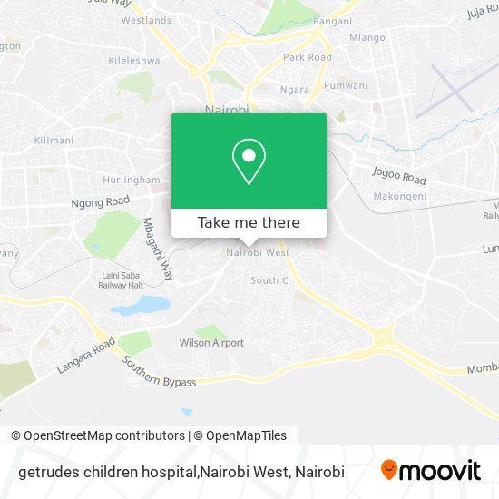 getrudes children hospital,Nairobi West map