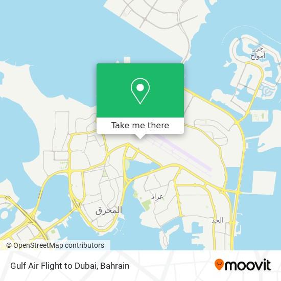 Gulf Air Flight to Dubai map