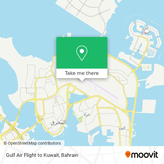 Gulf Air Flight to Kuwait map
