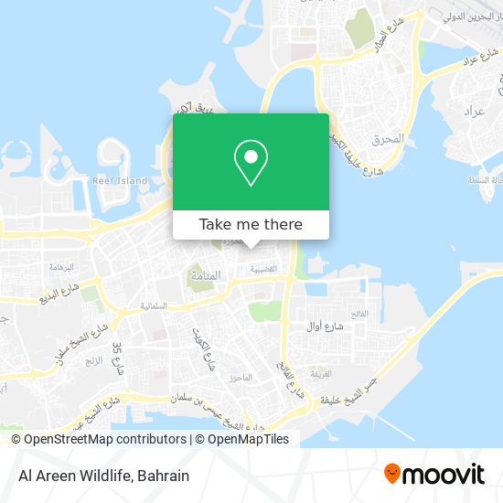 Al Areen Wildlife map