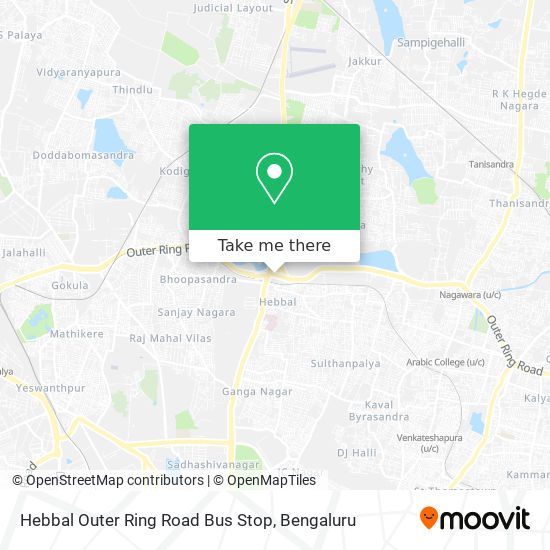 Hebbal Outer Ring Road Bus Stop map