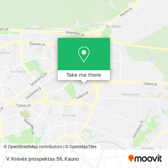 V. Krėvės prospektas 58 map