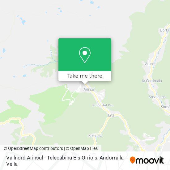 Vallnord Arinsal - Telecabina Els Orriols map