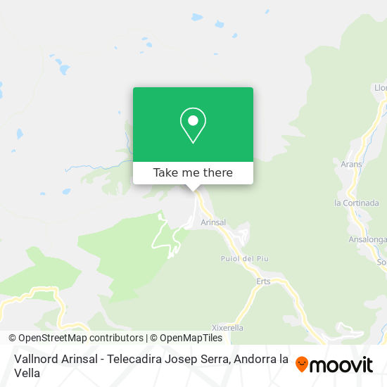 Vallnord Arinsal - Telecadira Josep Serra map