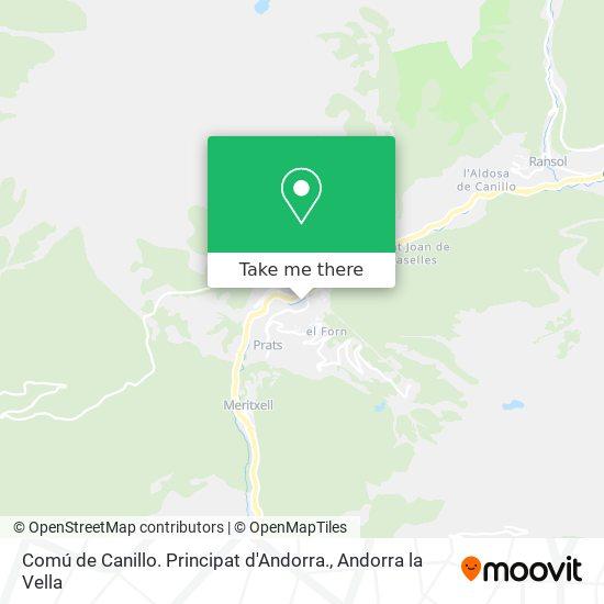 Comú de Canillo. Principat d'Andorra. map