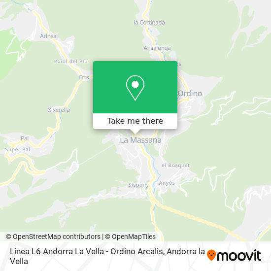 Linea L6 Andorra La Vella - Ordino Arcalis map