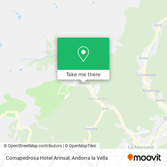 Comapedrosa Hotel Arinsal map