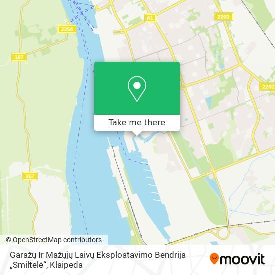 """Garažų Ir Mažųjų Laivų Eksploatavimo Bendrija """"Smiltelė"""" map"""