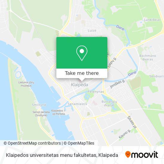 Klaipedos universitetas menu fakultetas map