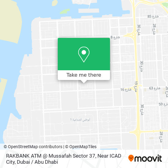 RAKBANK ATM @ Mussafah Sector 37, Near ICAD City map