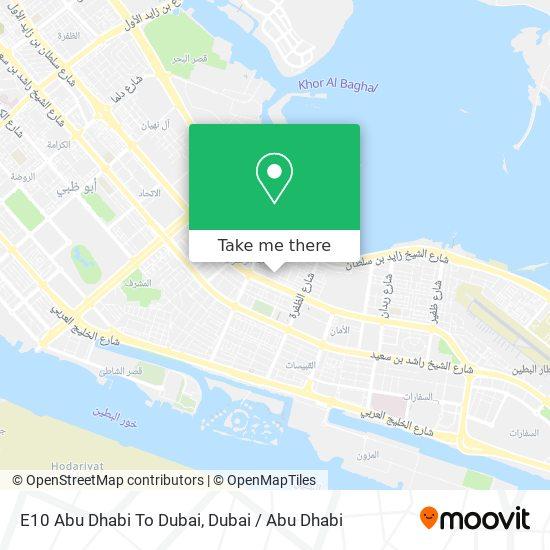 E10 Abu Dhabi To Dubai map