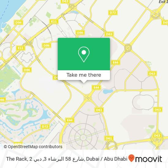 Карта The Rack, 2 شارع 58 البرشاء 3, دبي