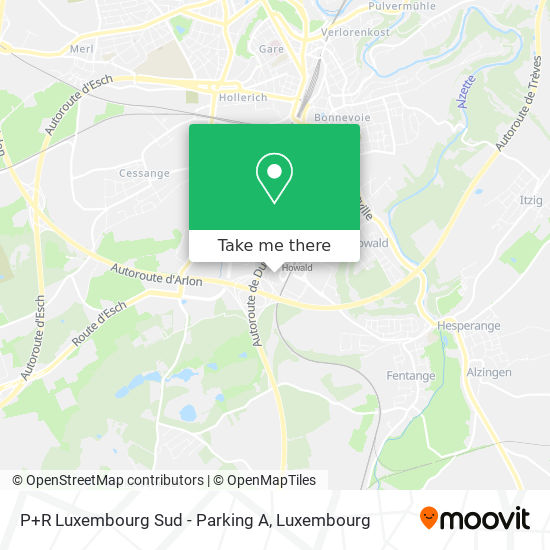 P&R Luxembourg Sud map