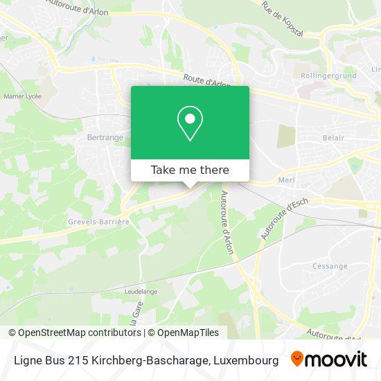 Ligne Bus 215 Kirchberg-Bascharage Karte