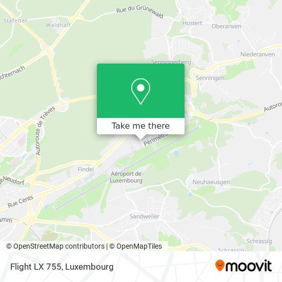 Flight LX 755 map