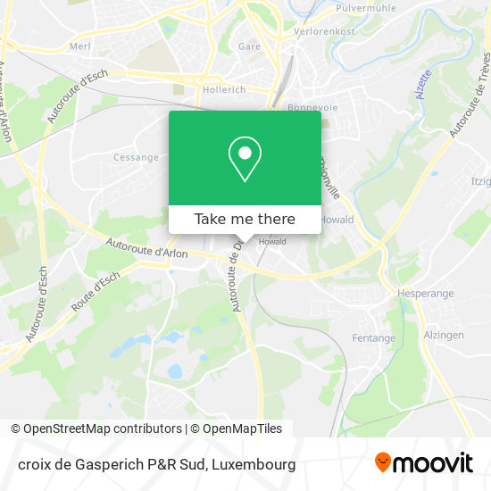 croix de Gasperich P&R Sud map
