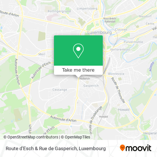 Route d'Esch & Rue de Gasperich map