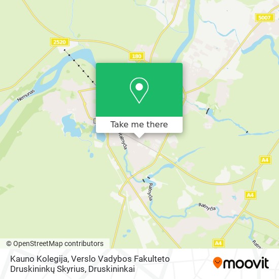 Kauno Kolegija, Verslo Vadybos Fakulteto Druskininkų Skyrius map