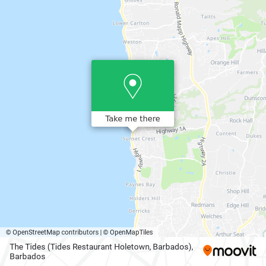 The Tides (Tides Restaurant Holetown, Barbados) map