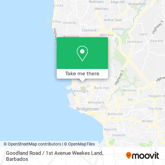 Goodland Road / 1st Avenue Weekes Land map