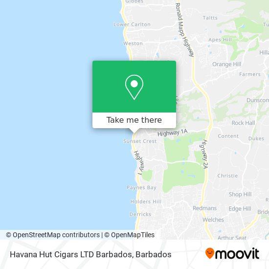 Havana Hut Cigars LTD Barbados map