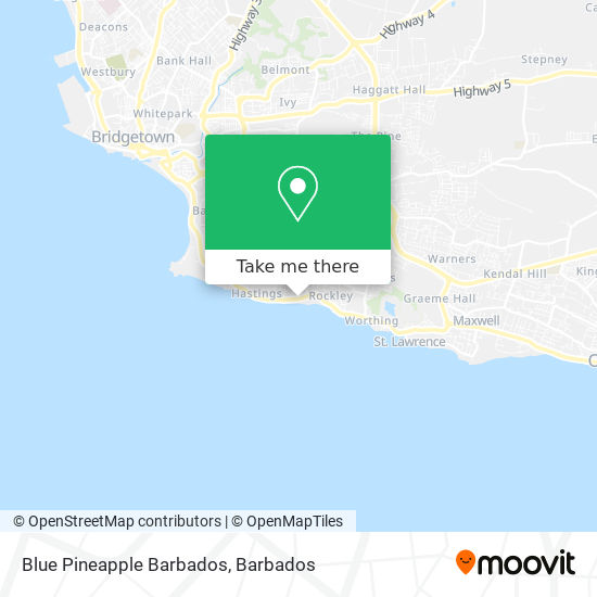 Blue Pineapple Barbados map