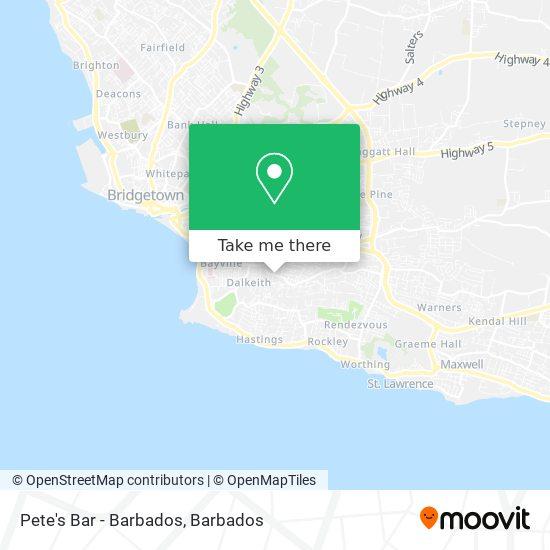Pete's Bar - Barbados map