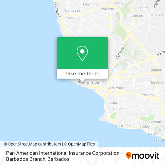 Pan-American International Insurance Corporation - Barbados Branch map