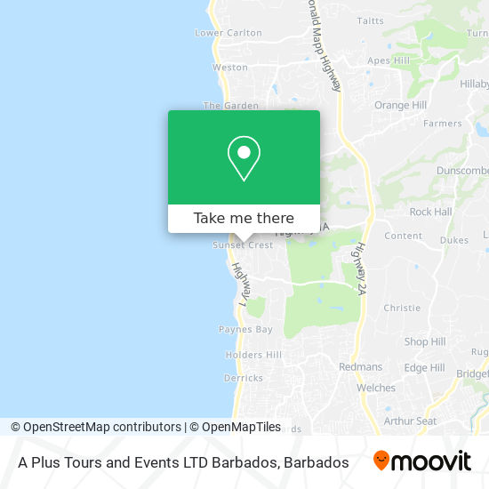 A Plus Tours and Events LTD Barbados map