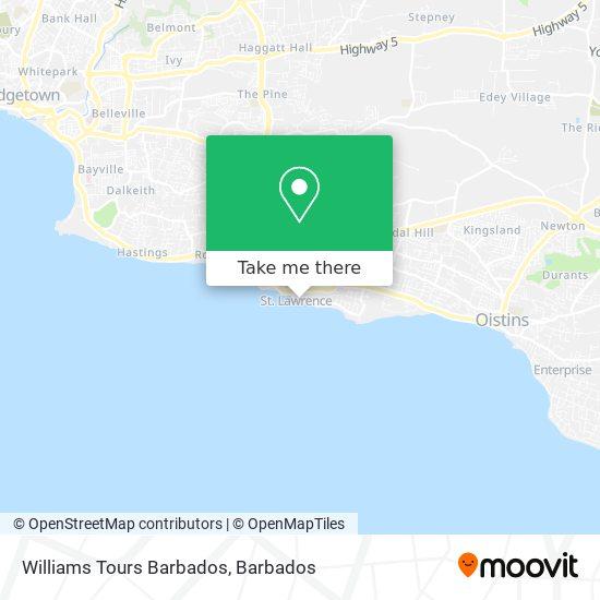 Williams Tours Barbados map